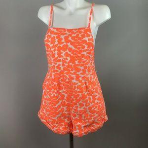 Finders Keepers Orange Denim Leopard Print Romper